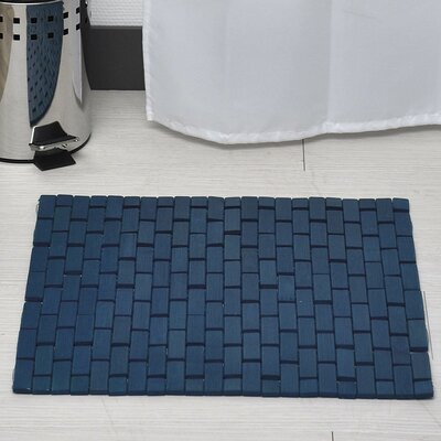 Bamboo Slats Roll-Up Foldable Bath Rug Color: Navy Blue