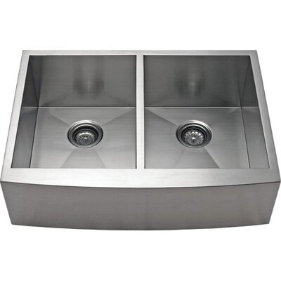33 x 21.62 Apron Farm 50/50 Double EqualBowl Kitchen Sink