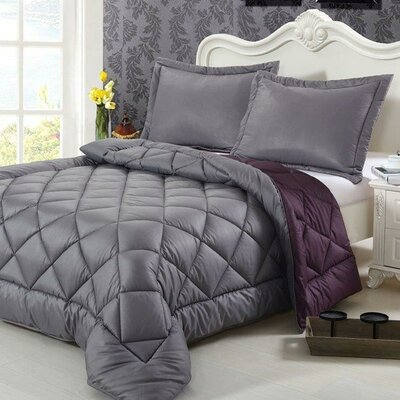Peach Skin 3 Piece Reversible Comforter Set Color: Gray, Size: Queen
