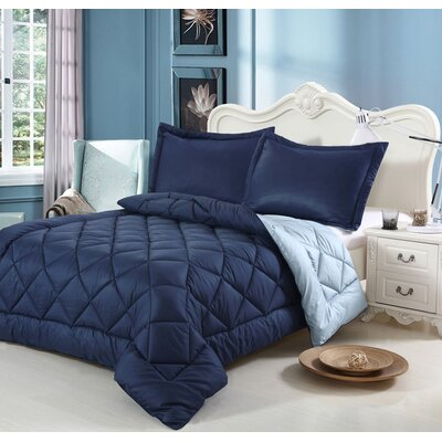 Peach Skin 3 Piece Reversible Comforter Set Color: Blue, Size: Twin