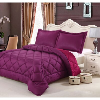 Peach Skin 3 Piece Reversible Comforter Set Color: Magenta, Size: Queen