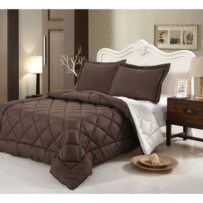 Peach Skin 3 Piece Reversible Comforter Set Color: Brown, Size: Queen