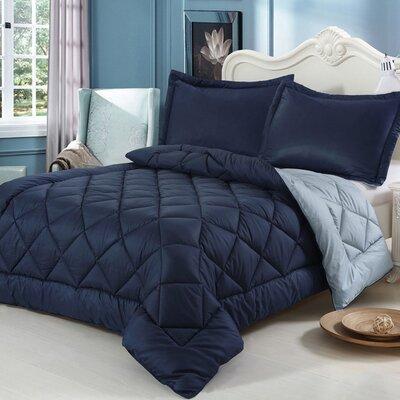 3 Piece King Reversible Comforter Set Color: Dress Blue/Sky Blue