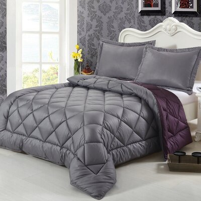 3 Piece King Reversible Comforter Set Color: Excalibur Gray/Blackberry Wine