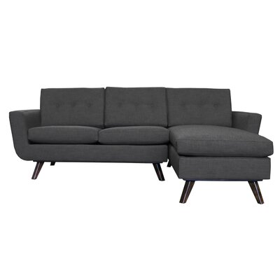 Callie Modern Chaise Sectional Upholstery: Black