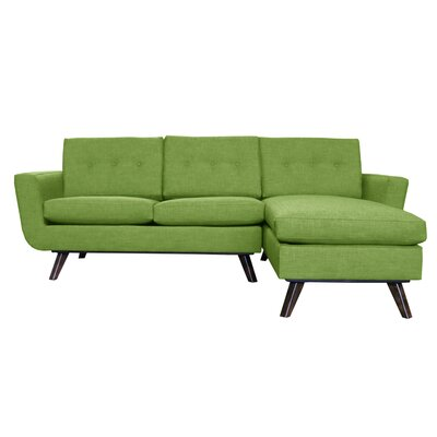 Callie Modern Reversible Sectional Upholstery: Green