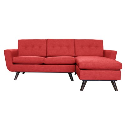 Callie Modern Reversible Sectional Upholstery: Red
