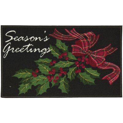 Seasons Greetings Black Area Rug