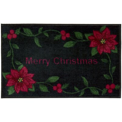 Merry Christmas Black Area Rug