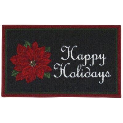 Happy Holidays Black Area Rug