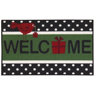 Christmas Black Area Rug Rug Size: Rectangle 16 x 26
