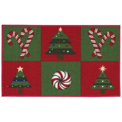 Candy Canes & Trees Green Area Rug Rug Size: 15 x 24