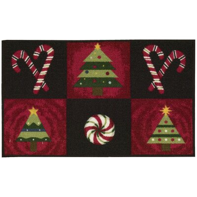 Candy Canes Black Area Rug Rug Size: Rectangle 18 x 29