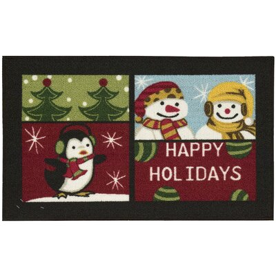 Happy Holidays Black Area Rug Rug Size: 18 x 29
