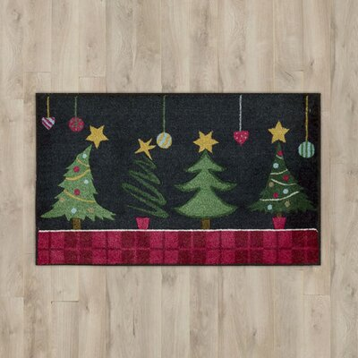 Trees Black Area Rug Rug Size: 2' x 3'