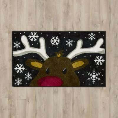 Reindeer Black Area Rug Rug Size: Rectangle 1.5 x 2.5