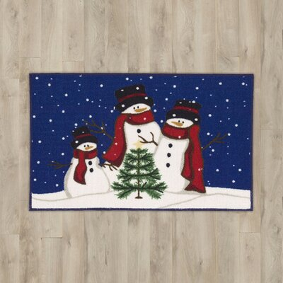 3 Snowmen Blue Area Rug