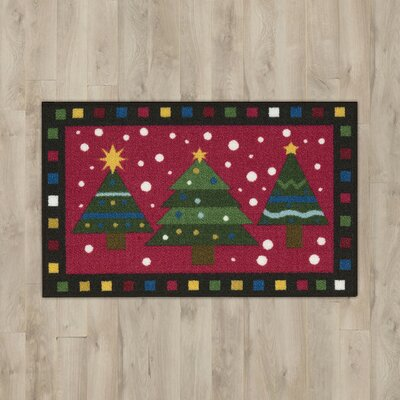 3 Trees Green/Red Area Rug