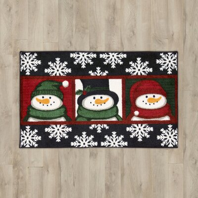 3 Snowman Faces Black Area Rug Rug Size: 16 x 26