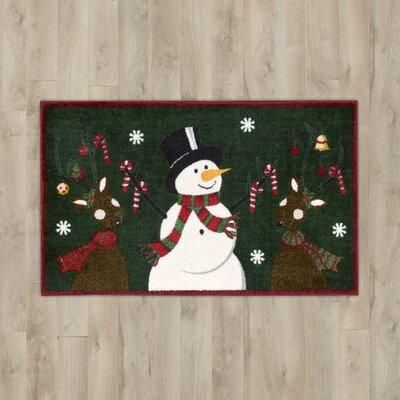 Snowman & Reindeer Green Area Rug