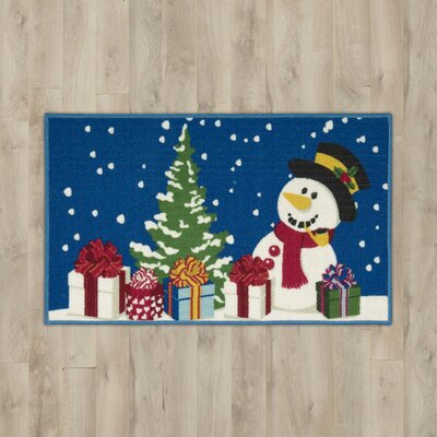 Snowman with Presents Blue Area Rug