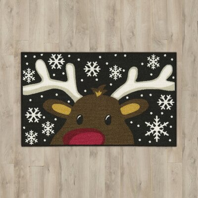 Reindeer Black/White Area Rug Rug Size: Rectangle 16 x 26