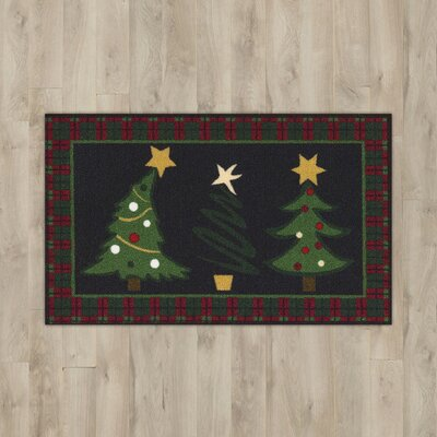 Trees Black Area Rug