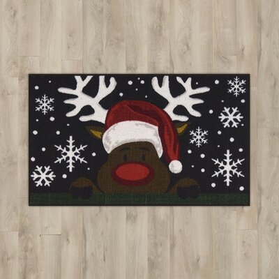 Reindeer Black Area Rug
