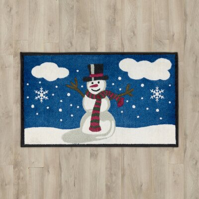 Snowman & Bird Black Area Rug
