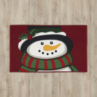 Snowman Red Area Rug