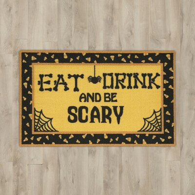 Eat, Drink & Be Scary Yellow Area Rug