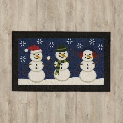 Let It Snow Blue Area Rug