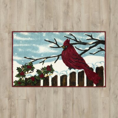 Cardinal & Holly Blue Area Rug Rug Size: 16 x 26