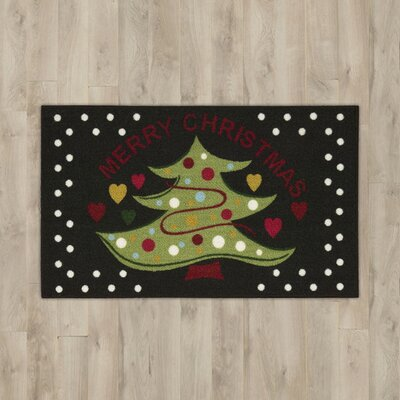 Christmas Tree Black Area Rug