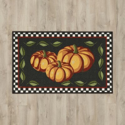 Pumpkins Black Area Rug