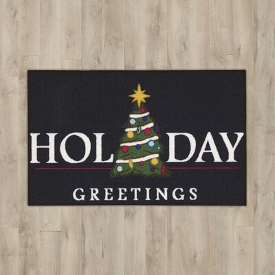 Holiday Greetings Black Area Rug