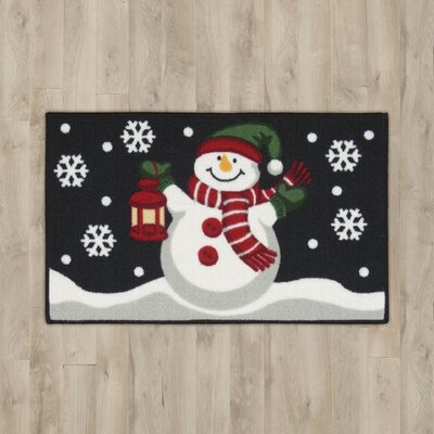 Snowman with Lantern Black Area Rug