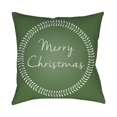 Merry Christmas Outdoor Throw Pillow Size: 18 H x 18 W x 4 D, Color: Green / White