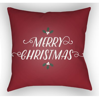 Merry Christmas Indoor/Outdoor Throw Pillow Size: 18 H x 18 W x 4 D, Color: Red