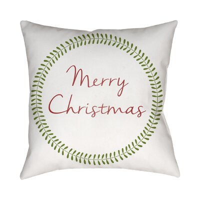 Merry Christmas Indoor/Outdoor Throw Pillow Size: 18 H x 18 W x 4 D, Color: White