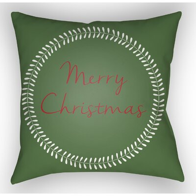 Merry Christmas Indoor/Outdoor Throw Pillow Size: 20 H x 20 W x 4 D, Color: Green / Red