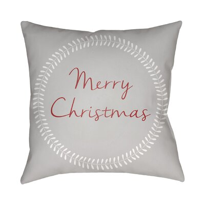 Merry Christmas Indoor/Outdoor Throw Pillow Size: 18 H x 18 W x 4 D, Color: Gray