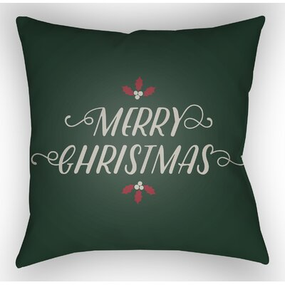 Merry Christmas Indoor/Outdoor Throw Pillow Size: 20 H x 20 W x 4 D, Color: Green