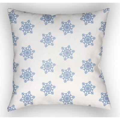 Snowflake Indoor/Outdoor Throw Pillow Size: 18 H x 18 W x 4 D, Color: White / Blue