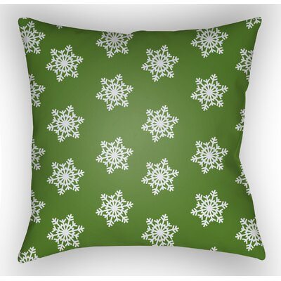 Snowflake Indoor/Outdoor Throw Pillow Size: 18 H x 18 W x 4 D, Color: Green / White