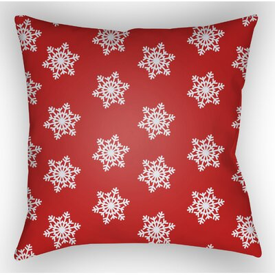 Snowflake Indoor/Outdoor Throw Pillow Size: 20 H x 20 W x 4 D, Color: White / Red