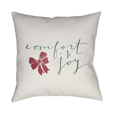 Comfort & Joy Indoor/Outdoor throw cushion Size: 18 H x 18 W x 4 D, Color: White  Green