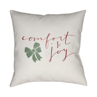 Comfort & Joy Indoor/Outdoor throw cushion Size: 18 H x 18 W x 4 D, Color: White / Red