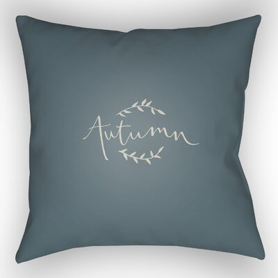 Autumn Indoor/Outdoor Throw Pillow Size: 18 H x 18 W x 4 D, Color: Blue/White