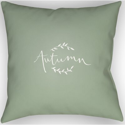 Autumn Indoor/Outdoor Throw Pillow Size: 18 H x 18 W x 4 D, Color: Green/White